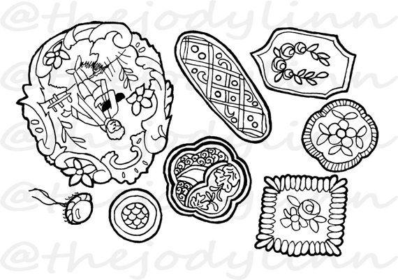 Museum Drawer: Waistcoat Buttons 1. Instant Download Digital Stamp Bundle. Line Art Illustration for Cards and Crafts