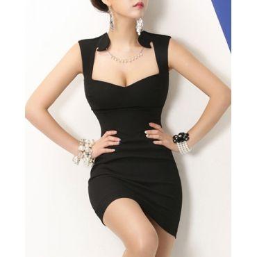 USD10.49Sexy V Neck Tank Sleeveless Sheath Black Mini Dress