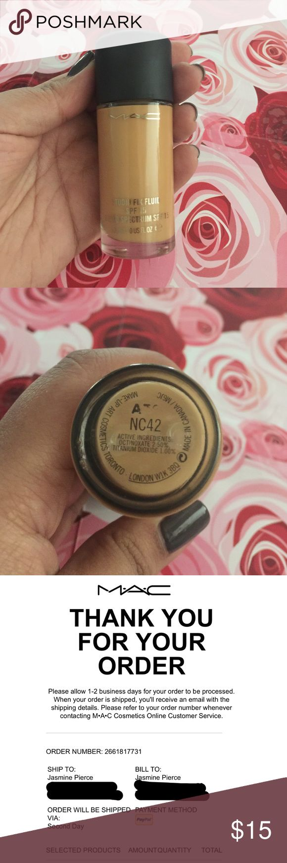 MAC Studio Fix Fluid NC 42 Purchased from MAC website. I have the receipt for proof. Used a couple of times but was too dark. I would say there's about 80% left in the bottle. No pump. Makeup Foundation