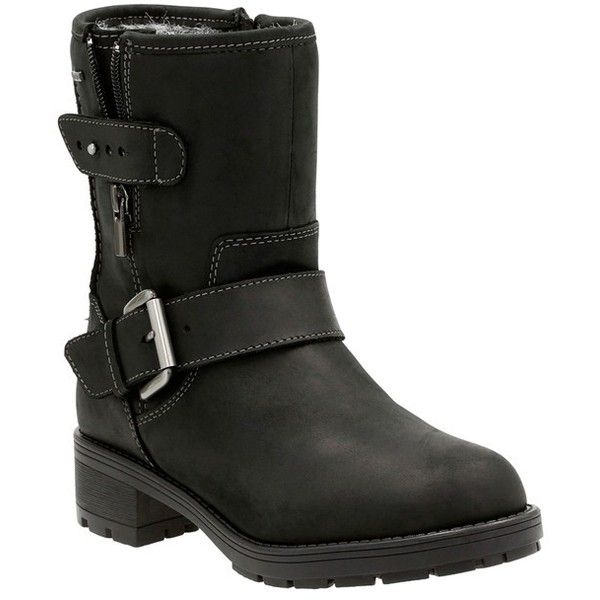 Women's Clarks 'Reunite Go' Gore-Tex Waterproof Moto Boot ($200) ❤ liked on Polyvore featuring shoes, boots, black leather, black motorcycle boots, black slip on boots, moto boots, motorcycle boots and waterproof motorcycle boots