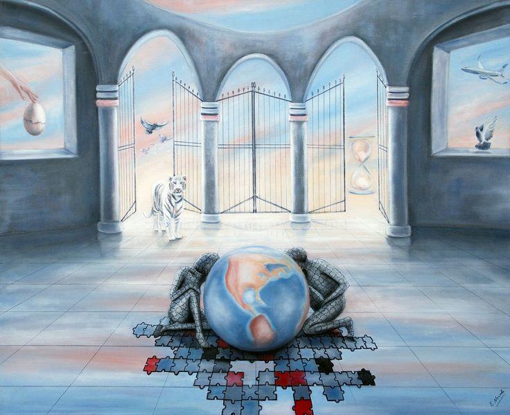 """Die Welt in Raum und Zeit  Ölbild von Ela Nowak aus der neuen Ausstellung """"Surrealismus"""" Hier die neue Ausstellung: http://www.freidenker-galerie.de/surrealismus-moderne-kunst-von-ela-nowak/"""