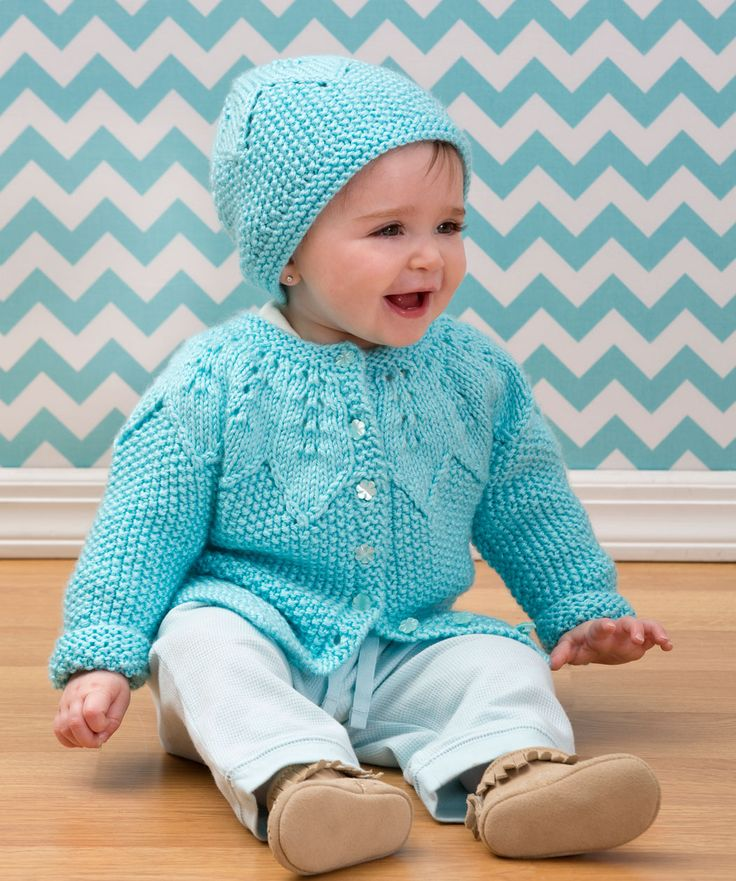 Star Bright Baby Cardigan and Hat Free Knitting Pattern from Red Heart Yarns