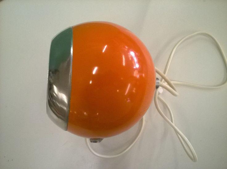 Lampada Da Tavolo Vintage Arancio Design Space Age Eyeball Anni '70 4