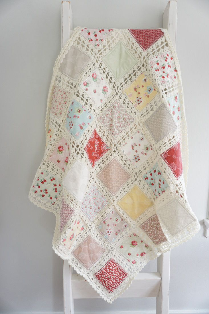 Beautiful crochet / quilt throw made with High Tea fabric collection on the Quilting in the Rain blog
