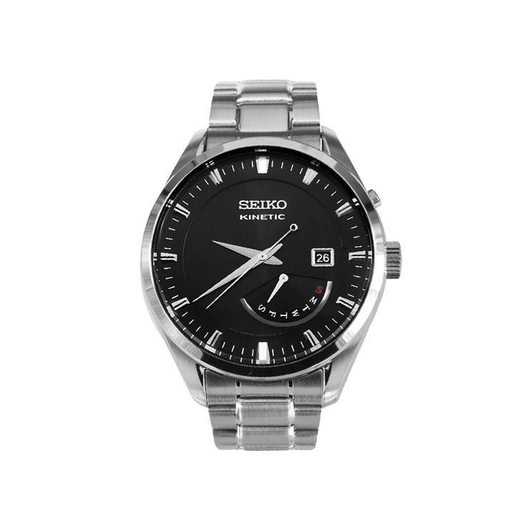 Ανδρικό ρολόι SEIKO SRN045P1 Kinetic με μαύρο καντράν, ημέρα, ημερομηνία, ένδειξη εφεδρικής ισχύος και ατσάλινο μπρασελέ | ΤΣΑΛΔΑΡΗΣ στο Χαλάνδρι #seiko #kinetic #μαυρο #μπρασελε #tsaldaris
