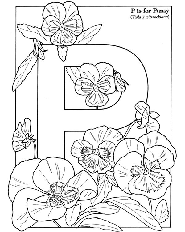 flower alphabet coloring pages - photo#7