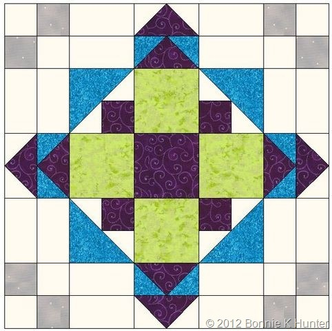 """EasyStreetBlockA  would make nice 20"""" block for medallion quilt"""