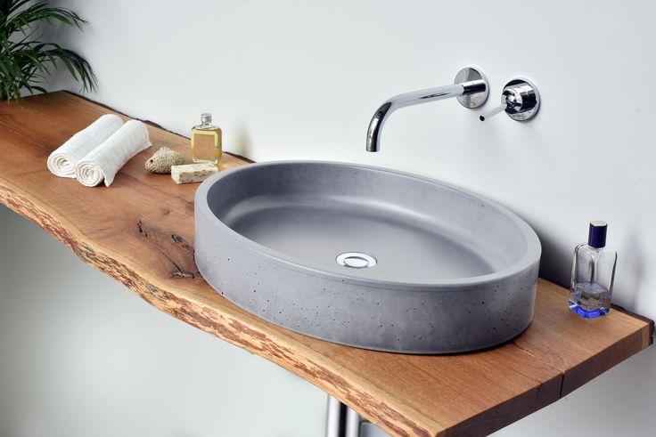 Concrete washbasin Gravelli Ovum in grey variant.