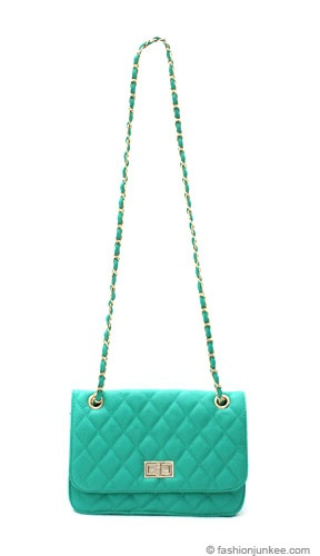 Skinny Messenger Faux Leather Quilted Purse With Long Chain Strap Blue Green Chanel Handbags Pinterest Purses And
