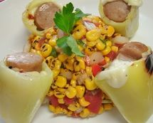Pimientos Rellenos con Salsa de Maiz / Stuffed Banana Peppers and Grilled Corn Salsa