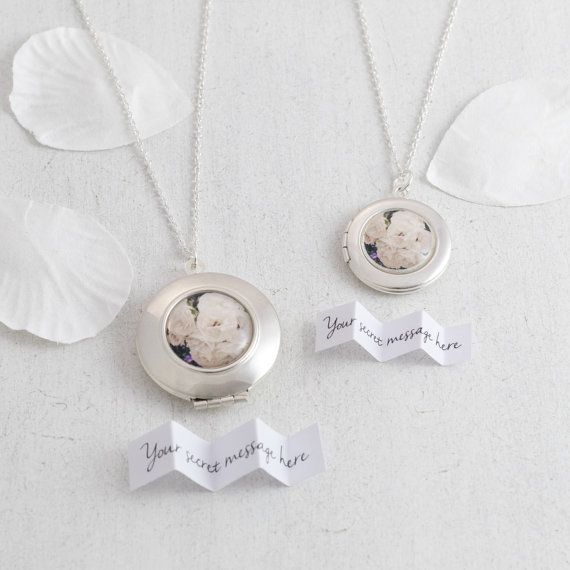 Personalised secret message White Roses Locket necklace