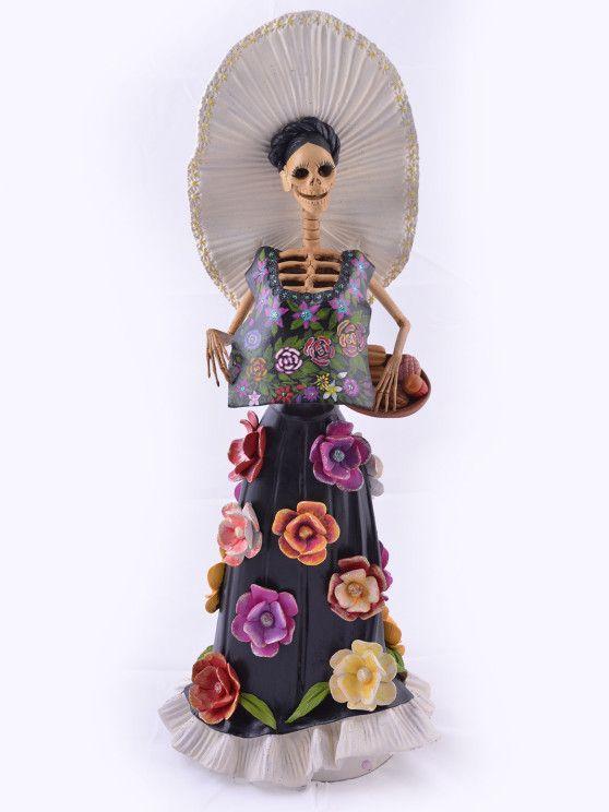 """CATRINA TEHUANA  Formado: 1 cuerpo, 1 cabeza  Elaborada con barro, formado y pintado a mano por alfareros de Copala, Michoacán, México.  Medida:  19.0"""" x 7.0"""" 48.0x 18 cm"""