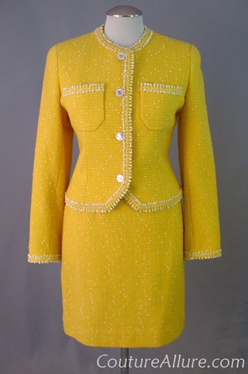 1997 Chanel yellow boucle suit