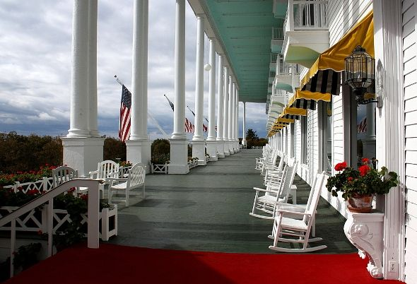 Front Porch, Grand Hotel, Macinac Island, Michigan; want to take the kids here for an afternoon