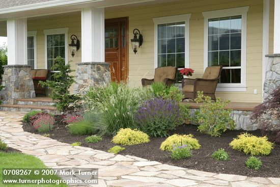 Foundation plantings for front of house slideshow for for Front porch landscaping plants