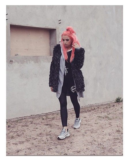 Get this look: http://lb.nu/look/8582627  More looks by Stephanie Gold: http://lb.nu/filthyconsumer  Items in this look:  Nasty Gal Faux Fur Coat, Nike  Air Max 97, Forever 21 Basketball Shorts   #minimal #sporty #street #fashionblogger #blogger #youtuber #youtube #pinkhair #outfit