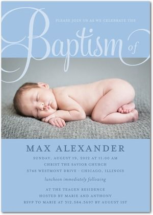 Baptism, Christening Invitations Fashionable Fonts - Front : Blue