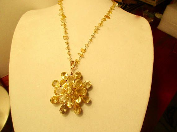 Genuine Dazzling CITRINE & VERMEIL Huge Floral Stacked Pendant on Genuine Citrine Chip/14K Gold Rosary Chain Necklace w/Domed, Citrine Clasp by theunitgal. Explore more products on http://theunitgal.etsy.com