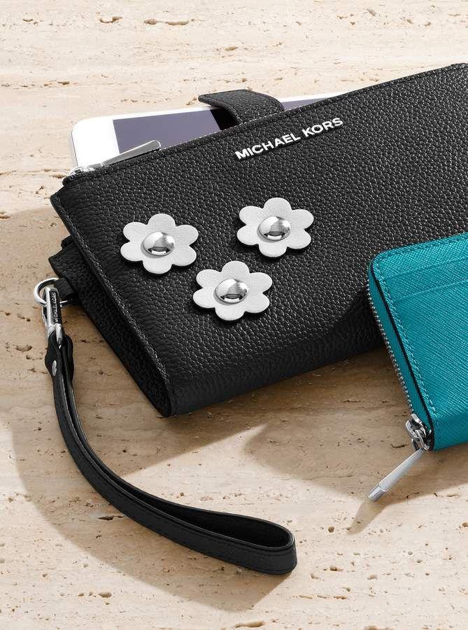 MICHAEL Michael Kors Adele Floral Applique Leather Smartphone Wristlet 15f309b0c0a