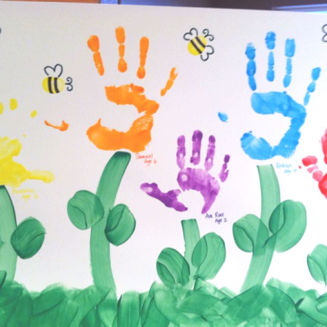 Handprint Flower Garden Thumbprint Bumblebees Too