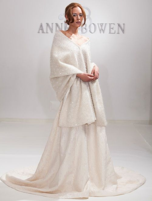 Dress with oversized shawl for winter wedding by Anne Bowen
