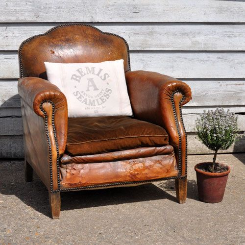 French Vintage Brown Leather Club Chair