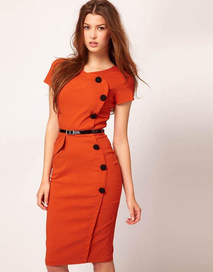 Chic Women Short Sleeve Button Empire Waist Puff Sleeve Casual Cotton Blend Stretch Bodycon Knee-Length Dress S-XXL