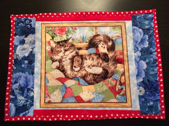 Cat Quilted Placemats Handmade Placemats Dining by CozeeQuilts