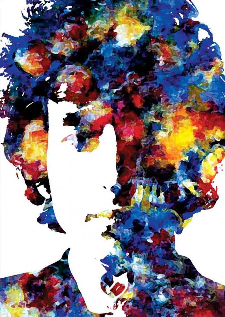 Bob Dylan Paintings | Bob Dylan Funky Canvas Painting - Iconic Canvas Art