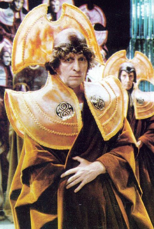 The Fourth Doctor (Tom Baker) dressed in Time Lord robes.