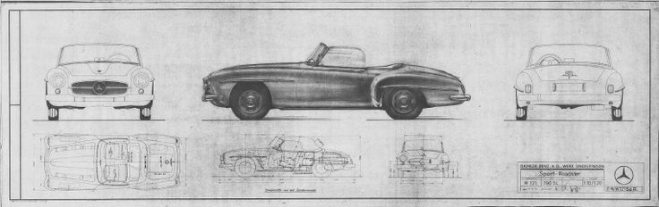 "Mercedes Benz 190SL prototype - drawing. Source: ""W121 Coupe and Roadster"" - A 190 SL ""Touring Sports Car"" by Bruce Adams, http://www.bruceadams190sl.com/html/book.php"