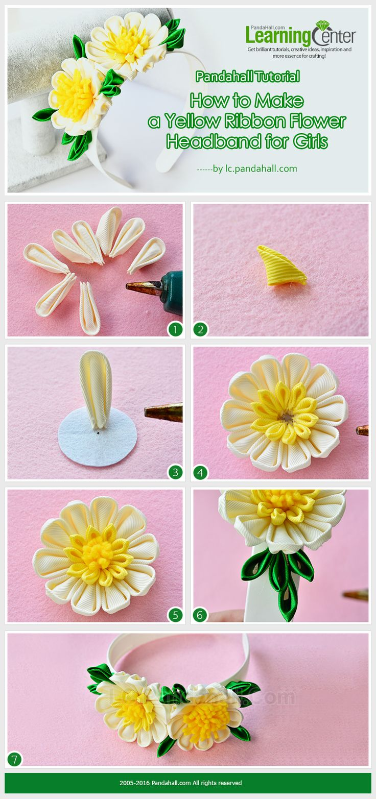 Tutorial on How to Make a Yellow Ribbon Flower Headband for Girls from LC.Pandahall.com   #pandahall