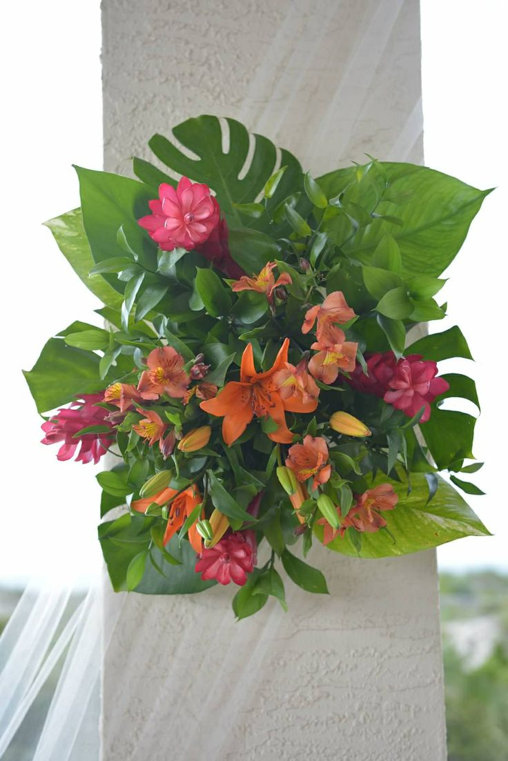 Tropical Arrangement Hanging - Ginger Flowers, Lilies, and Alstroemeria.