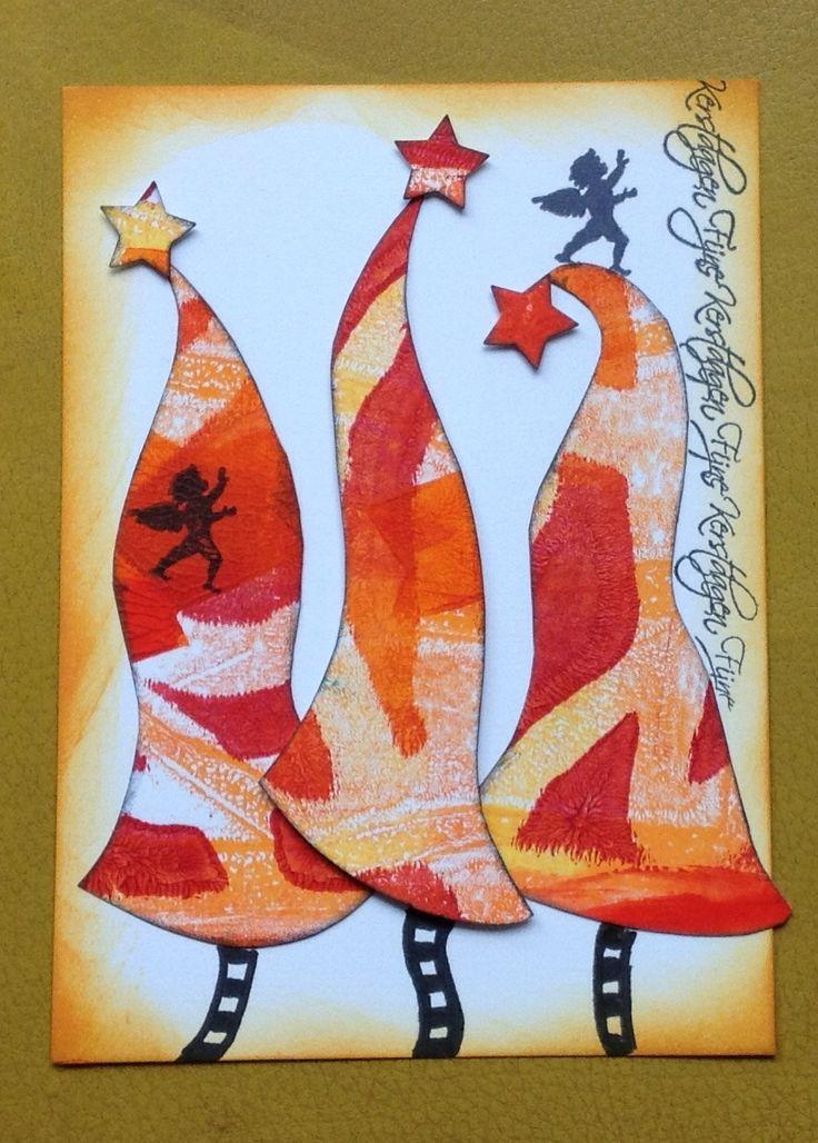 Funky kerstbomen van een gelli print