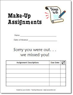 Use this form when kids are absent to gather all their make up assignments in one place. Organization is the key!
