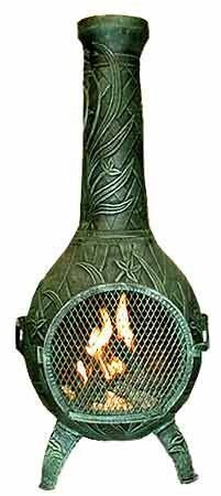 Blue Rooster - ALCH046GK-AG - Orchid Cast Aluminum Chiminea w/Gas Kit - Antique Green - Large by Blue Rooster. $579.95. Non-Rusting Solid Cast Aluminum Alloy. Image May Vary - Please See Product Title for Actual Size and Color!. Safe Single Opening Traditional Chiminea. Gas Kit with 7 Ceramic Logs. Detailed Orchid Flower and Leaf Design. Detailed Orchid design goes with your garden. This full size outdoor chiminea makes a great centerpiece for entertaining friends and family.The...