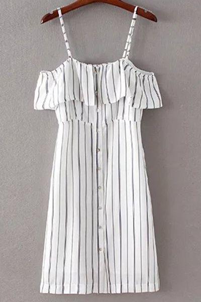Striped Spaghetti Straps Flouncing Dress
