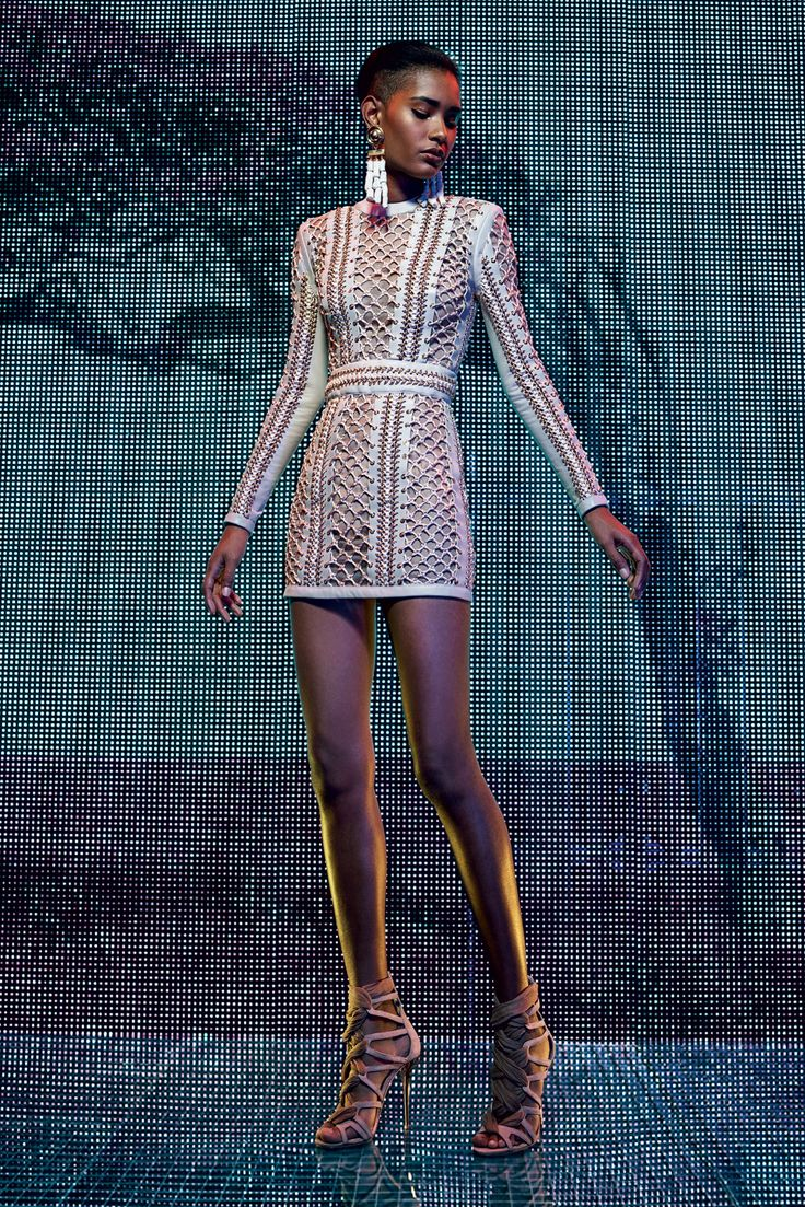 Balmain | Cruise/Resort 2016 Collection via Designer Olivier Rousteing | Modeled by Ysaunny Brito | July 6, 2015; Paris | Style.com