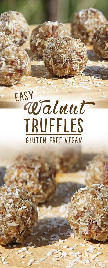Walnut Truffles with only 4 ingredients - energy balls by Trinity Bourne
