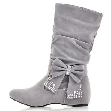 boots and bows. Fashion Round Toe Bow Tie Wedge Low Heel Slip On Beige Short PU Cavalier Boots