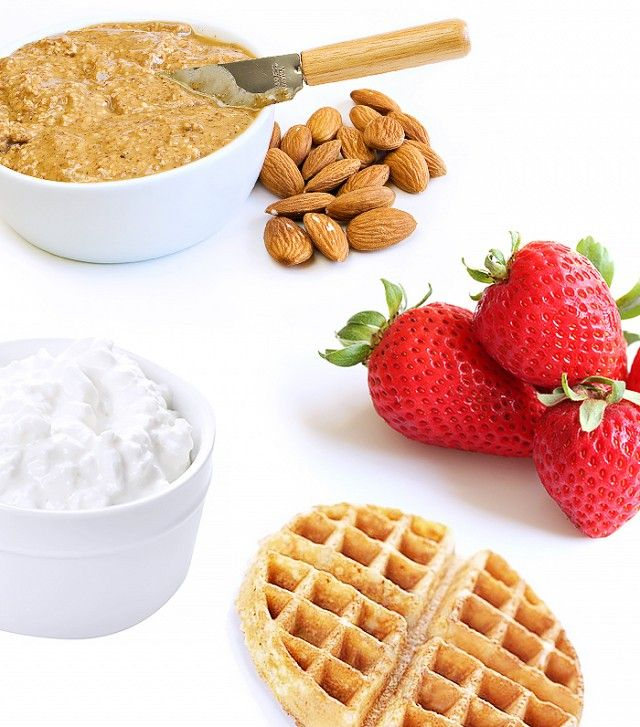 Strawberry Nut Waffle With a Side of Cottage Cheese  Calories: 295 Protein: 16g Fat: 17g For a cost-effective option that can last you all week and beyond, buy a box of frozen whole wheat waffles, almond butter, cottage cheese and strawberries. Spread a tablespoon of almond butter across the  toasted waffles, load them up with chopped strawberries, and have a side of cottage cheese. You literally won't be tempted by food for hours thanks to all the protein in the nut butter and cottage…