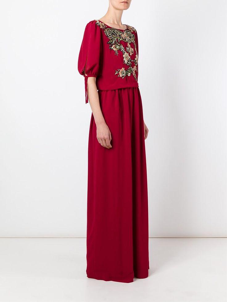 Antonio Marras длинное платье с вышивкой на груди