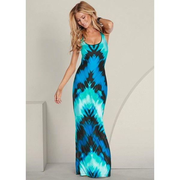 Venus Women's Teal Tie Dye Maxi Dresses ($39) ❤ liked on Polyvore featuring dresses, maxi dresses, teal maxi dress, teal dress, venus dresses and spandex dress