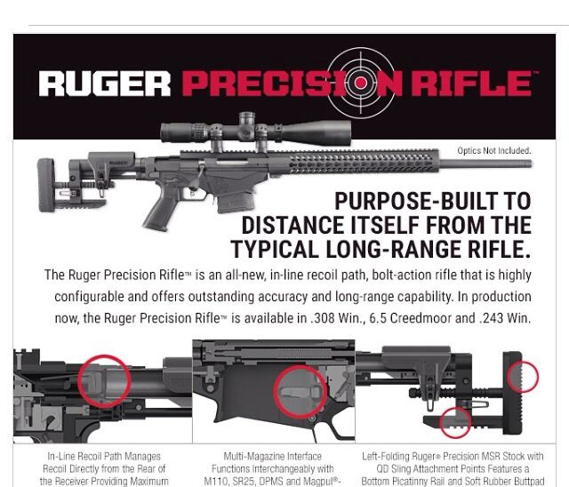 New Ruger Precision Rifle. Available in calibers: .308 Win, 6.5 Creedmoor, and .243 Win. MSRP $1399