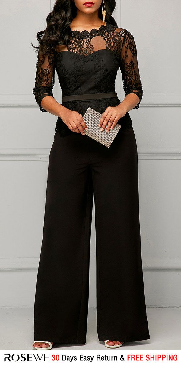538b4a697ffa Peplum Waist Scalloped Neckline Lace Panel Black Jumpsuit. rosewe jumpsuit