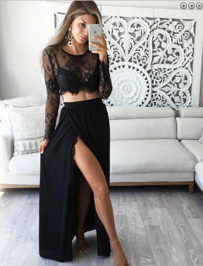 two pieces Prom Dresses,lace sleeves prom dress,charming prom Dress,two pieces prom dress,black evening dress,BD2416