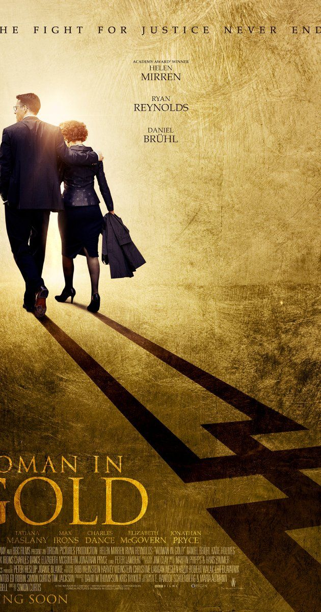 Directed by Simon Curtis.  With Helen Mirren, Ryan Reynolds, Daniel Brühl, Elizabeth McGovern. Maria Altmann, an octogenarian Jewish refugee, takes on the government to recover artwork she believes rightfully belongs to her family.  Fun Trailer.