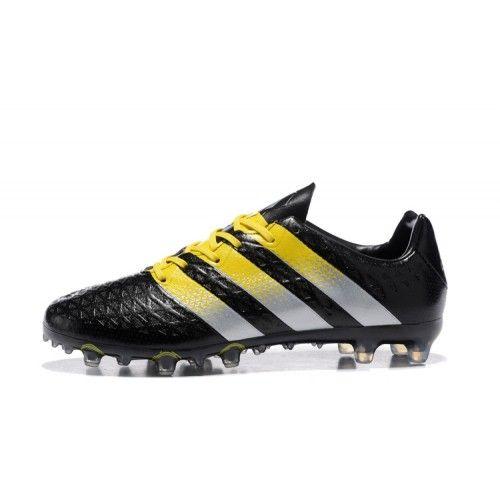 Salg Adidas ACE Fodboldstøvler - Ny Adidas ACE 16.1 FG AG Sort Gul Fodboldstovler