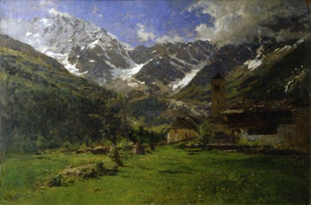 "Eugenio Gignous: ""Monte Rosa"", 1896, oil on canvas,Dimensions 85 x 128 cm, Current location: Galleria Nazionale d'Arte Moderna Location Rome, Italy."