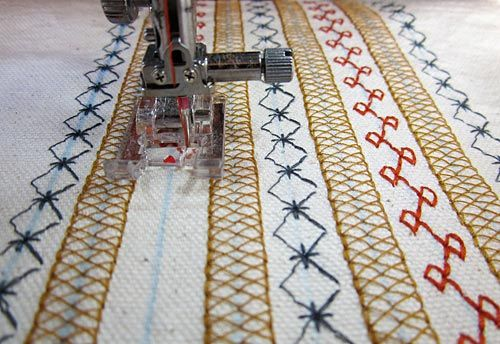 using decorative stitches on an apron...could use for clothing too!